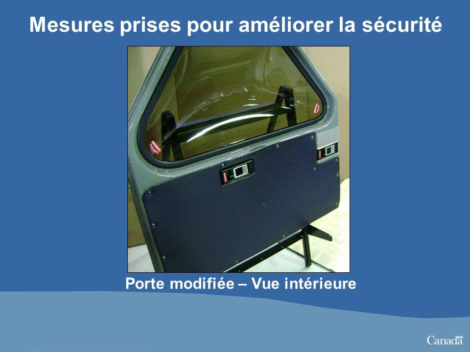 Porte modifiée – Vue intérieure Mesures prises pour améliorer la sécurité