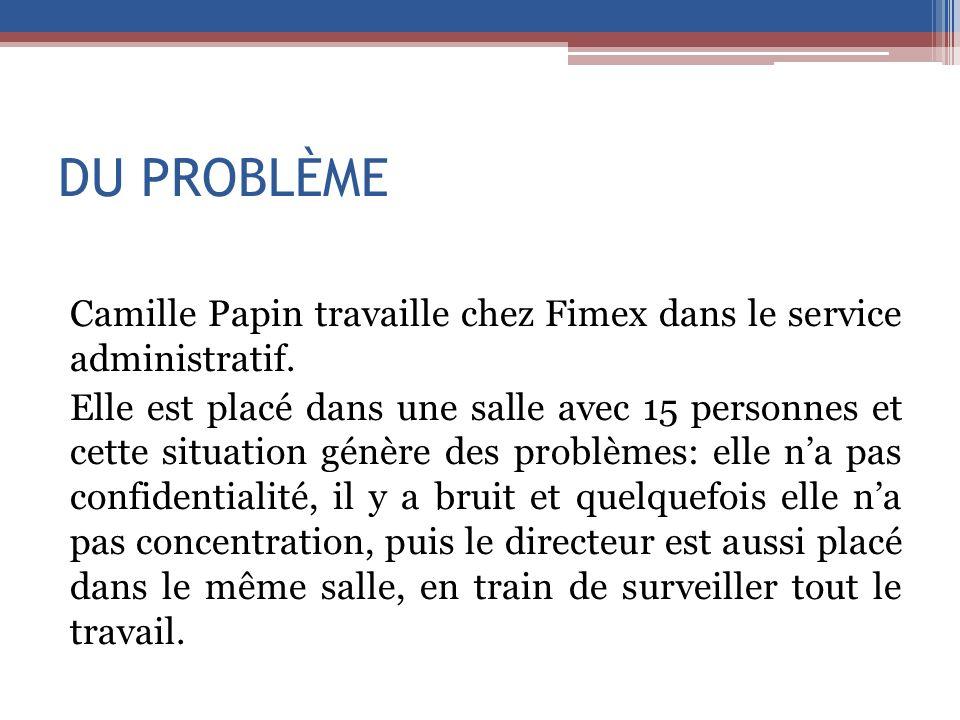 DU PROBLÈME Camille Papin travaille chez Fimex dans le service administratif. Elle est placé dans une salle avec 15 personnes et cette situation génèr
