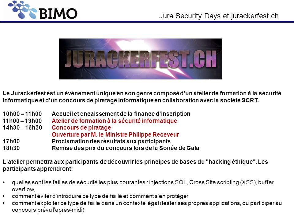 Jura Security Days et jurackerfest.ch Le Jurackerfest est un événement unique en son genre composé d'un atelier de formation à la sécurité informatiqu