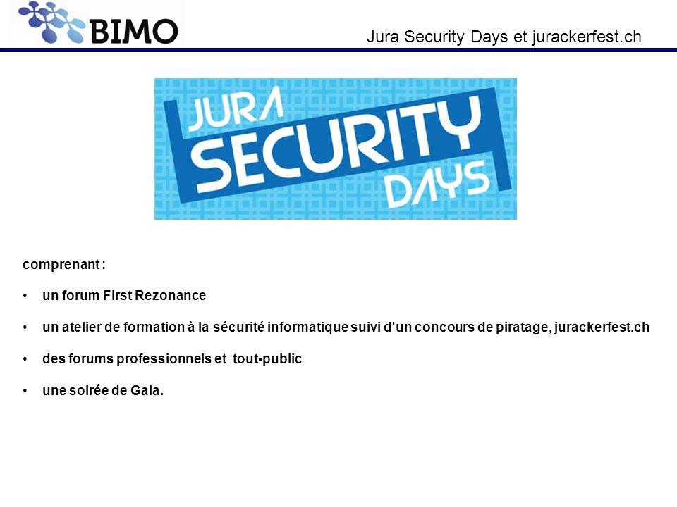 comprenant : un forum First Rezonance un atelier de formation à la sécurité informatique suivi d'un concours de piratage, jurackerfest.ch des forums p