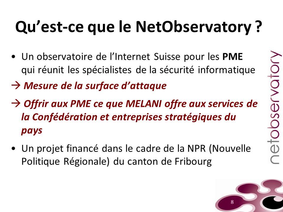 Quest-ce que le NetObservatory ? Un observatoire de lInternet Suisse pour les PME qui réunit les spécialistes de la sécurité informatique Mesure de la