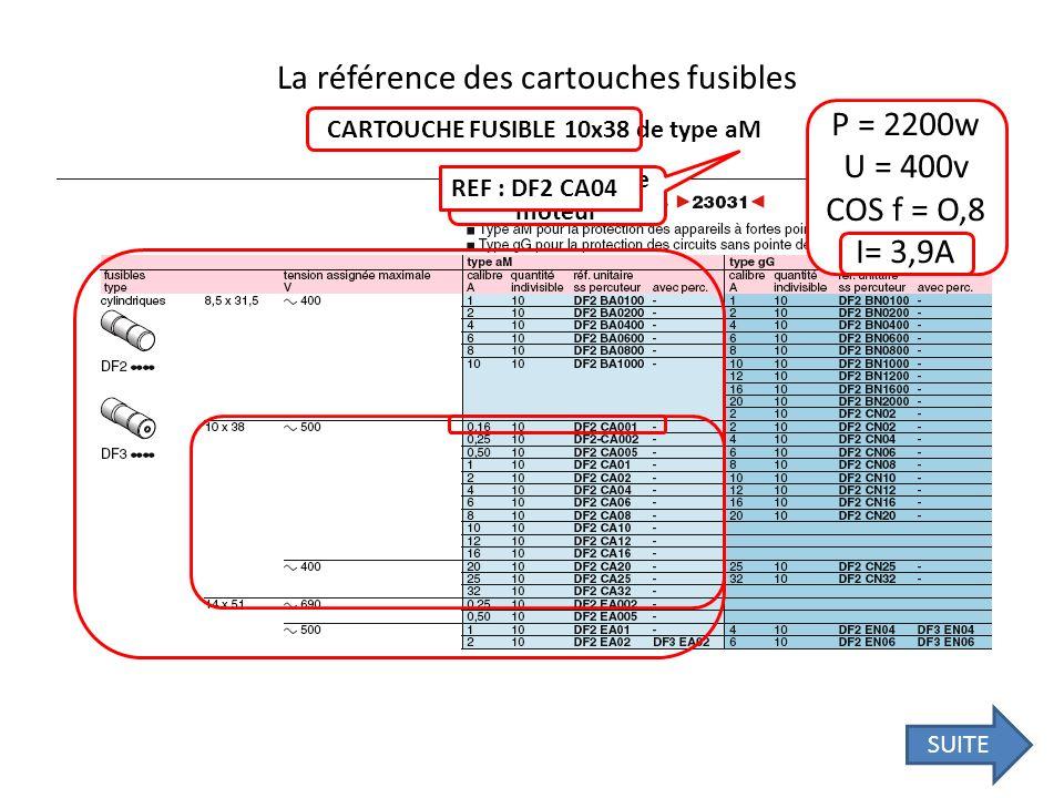 La référence des cartouches fusibles CARTOUCHE FUSIBLE 10x38 de type aM P = 2200w U = 400v COS f = O,8 I= 3,9A Circuit puissance moteur REF : DF2 CA04
