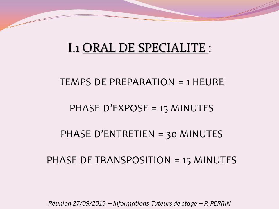 I.1ORAL DE SPECIALITE I.1 ORAL DE SPECIALITE : Réunion 27/09/2013 – Informations Tuteurs de stage – P. PERRIN TEMPS DE PREPARATION = 1 HEURE PHASE DEX