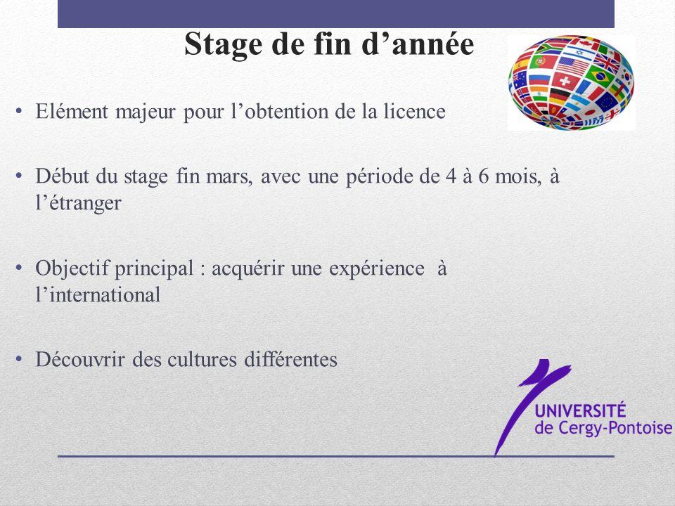 Stage de fin dannée Elément majeur pour lobtention de la licence Début du stage fin mars, avec une période de 4 à 6 mois, à létranger Objectif princip