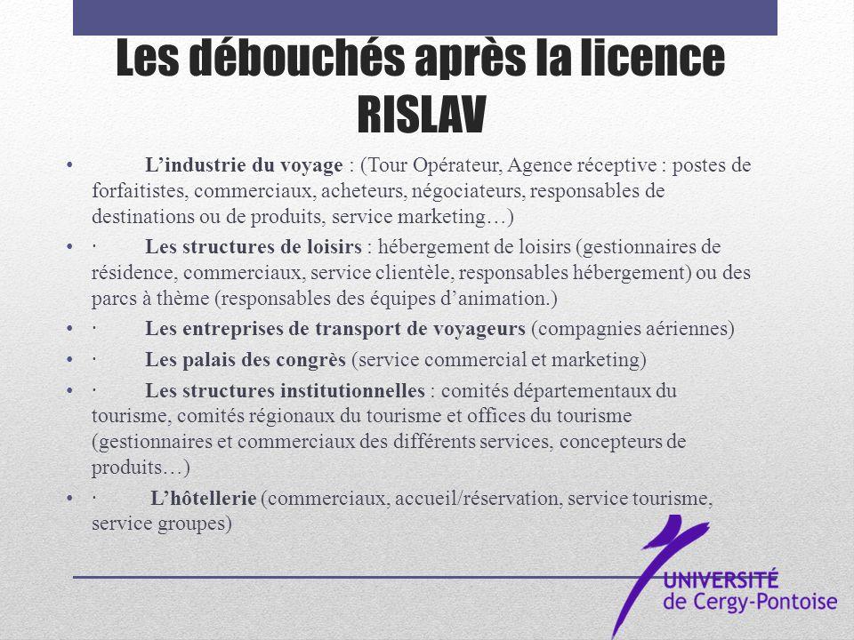 Les débouchés après la licence RISLAV Lindustrie du voyage : (Tour Opérateur, Agence réceptive : postes de forfaitistes, commerciaux, acheteurs, négoc