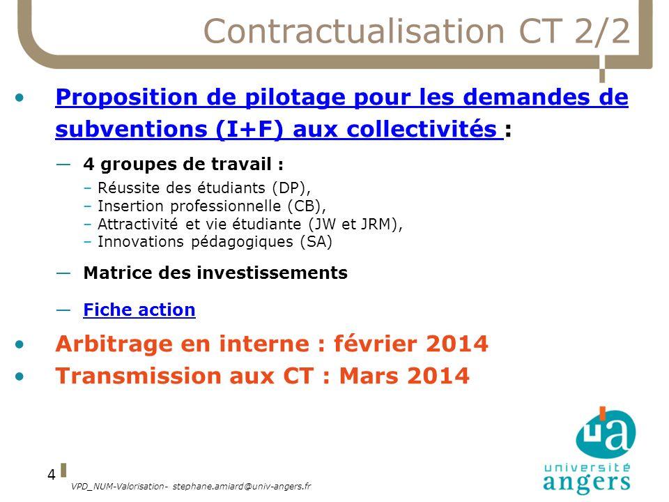 VPD_NUM-Valorisation- stephane.amiard@univ-angers.fr 4 Contractualisation CT 2/2 Proposition de pilotage pour les demandes de subventions (I+F) aux co