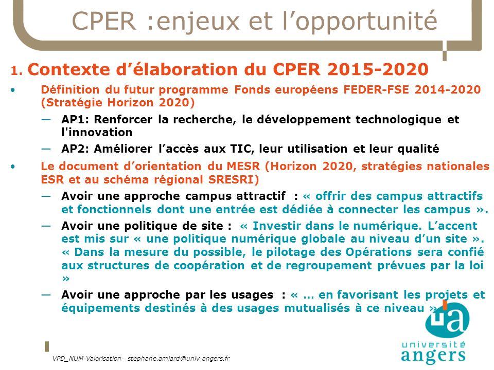 CPER :enjeux et lopportunité 1. Contexte délaboration du CPER 2015-2020 Définition du futur programme Fonds européens FEDER-FSE 2014-2020 (Stratégie H