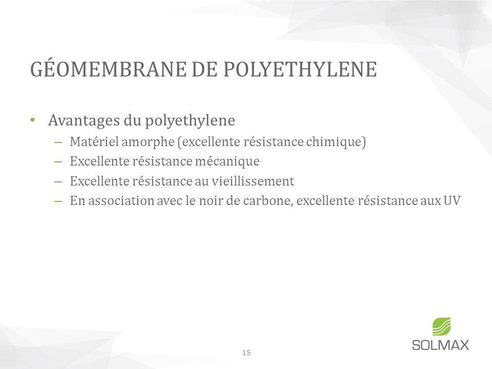 Avantages du polyethylene – Matériel amorphe (excellente résistance chimique) – Excellente résistance mécanique – Excellente résistance au vieillissem