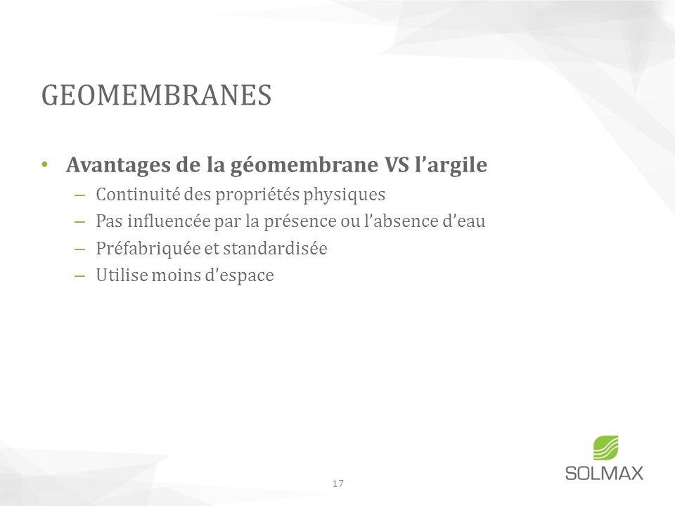 Avantages de la géomembrane VS largile – Continuité des propriétés physiques – Pas influencée par la présence ou labsence deau – Préfabriquée et stand