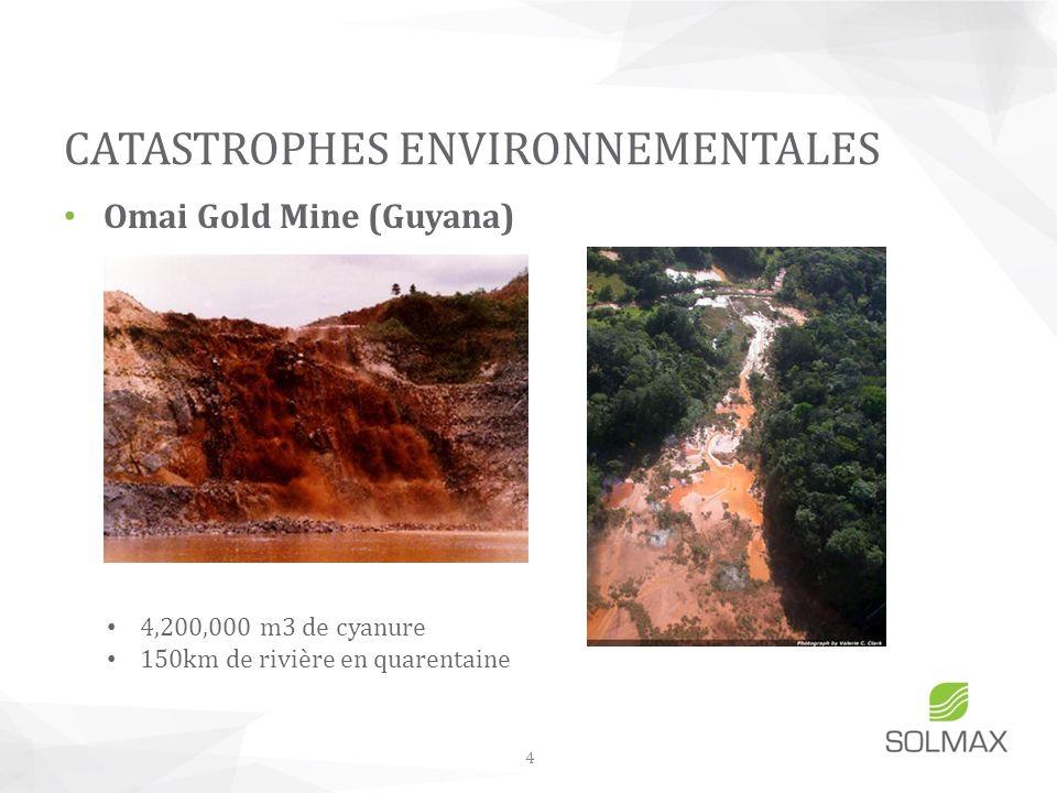 Omai Gold Mine (Guyana) CATASTROPHES ENVIRONNEMENTALES 4 4,200,000 m3 de cyanure 150km de rivière en quarentaine