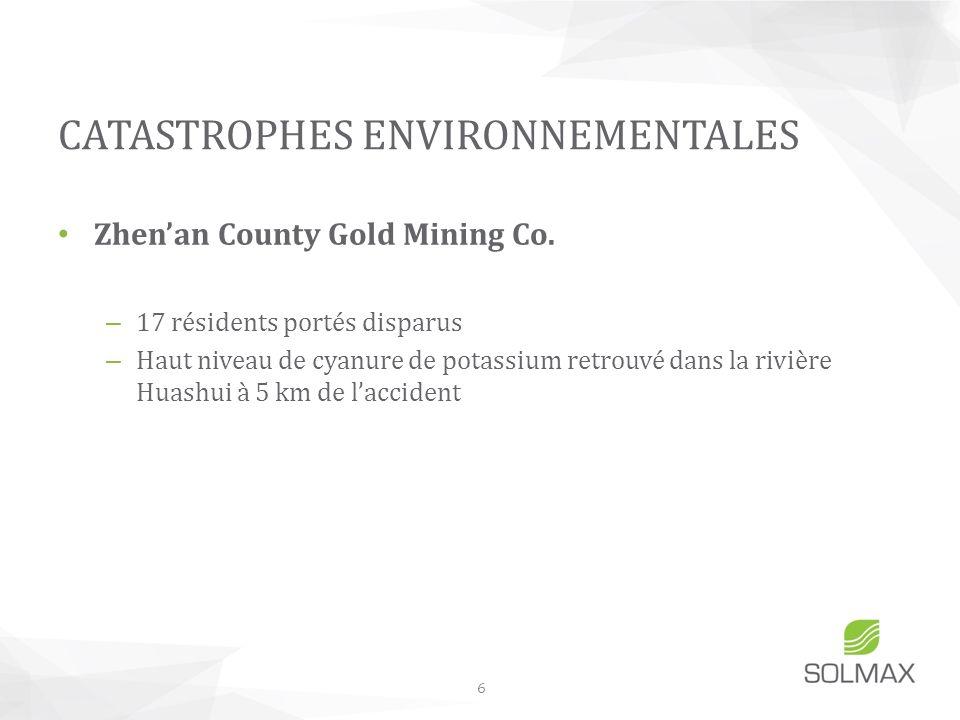 Zhenan County Gold Mining Co. – 17 résidents portés disparus – Haut niveau de cyanure de potassium retrouvé dans la rivière Huashui à 5 km de lacciden