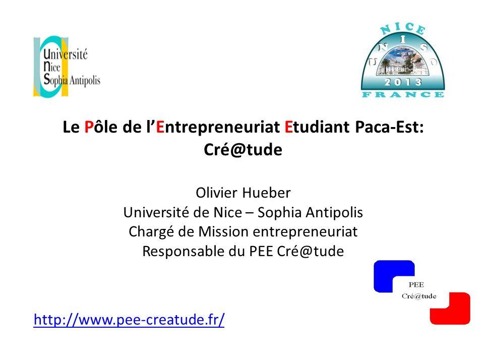 http://www.pee-creatude.fr/ Le Pôle de lEntrepreneuriat Etudiant Paca-Est: Cré@tude Olivier Hueber Université de Nice – Sophia Antipolis Chargé de Mis