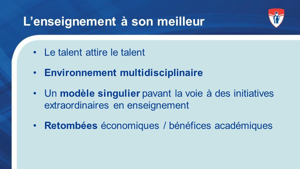 Lenseignement à son meilleur Le talent attire le talent Environnement multidisciplinaire Un modèle singulier pavant la voie à des initiatives extraordinaires en enseignement Retombées économiques / bénéfices académiques