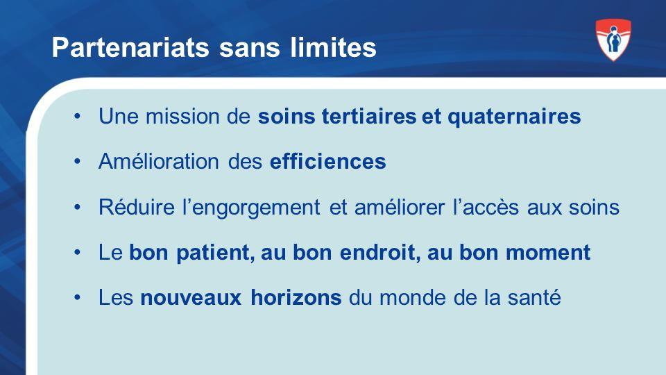 Partenariats sans limites Une mission de soins tertiaires et quaternaires Amélioration des efficiences Réduire lengorgement et améliorer laccès aux soins Le bon patient, au bon endroit, au bon moment Les nouveaux horizons du monde de la santé