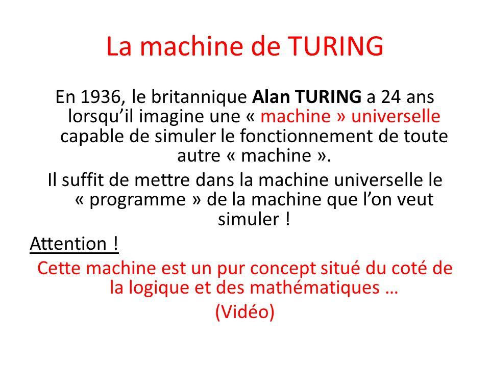 La machine de TURING En 1936, le britannique Alan TURING a 24 ans lorsquil imagine une « machine » universelle capable de simuler le fonctionnement de