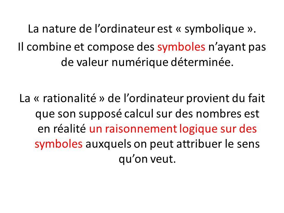 La nature de lordinateur est « symbolique ». Il combine et compose des symboles nayant pas de valeur numérique déterminée. La « rationalité » de lordi