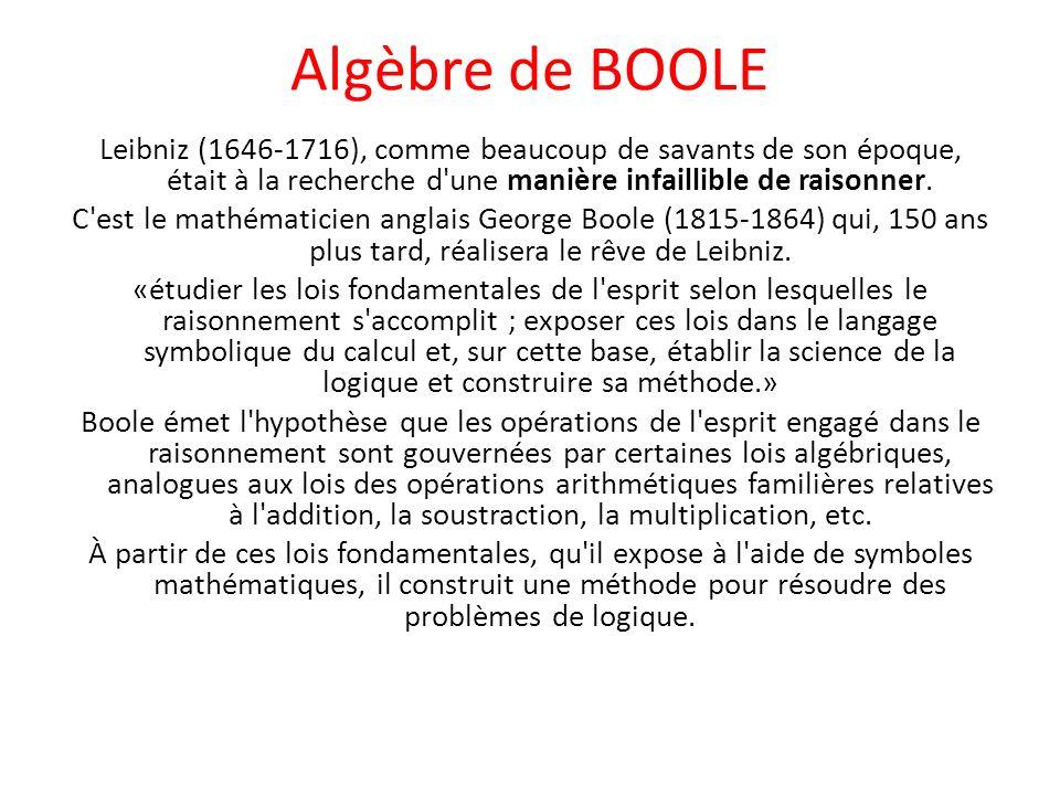 Algèbre de BOOLE Le raisonnement est ainsi ramené au calcul, la logique est réduite à l algèbre.
