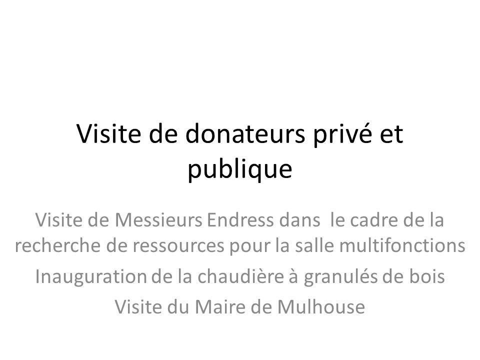 Visite de donateurs privé et publique Visite de Messieurs Endress dans le cadre de la recherche de ressources pour la salle multifonctions Inauguratio