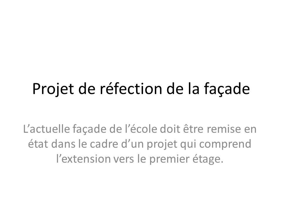 Projet de réfection de la façade Lactuelle façade de lécole doit être remise en état dans le cadre dun projet qui comprend lextension vers le premier