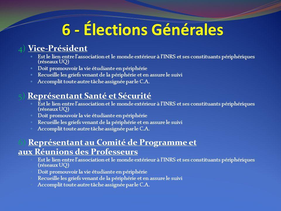 6 - 6 - Élections Générales 4) Vice-Président Est le lien entre l'association et le monde extérieur à lINRS et ses constituants périphériques (réseaux