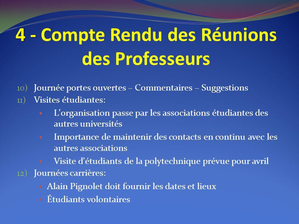 4 - 4 - Compte Rendu des Réunions des Professeurs 10) Journée portes ouvertes – Commentaires – Suggestions 11) Visites étudiantes: L'organisation pass