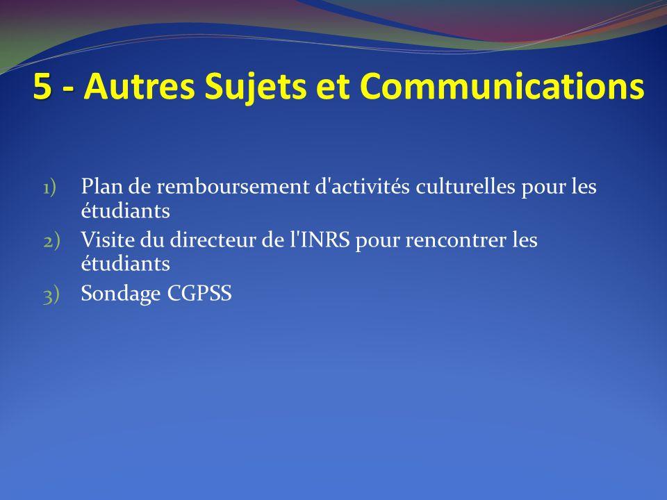 5 - 5 - Autres Sujets et Communications 1) Plan de remboursement d activités culturelles pour les étudiants 2) Visite du directeur de l INRS pour rencontrer les étudiants 3) Sondage CGPSS
