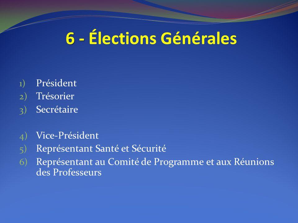 6 - 6 - Élections Générales 1) Président 2) Trésorier 3) Secrétaire 4) Vice-Président 5) Représentant Santé et Sécurité 6) Représentant au Comité de Programme et aux Réunions des Professeurs