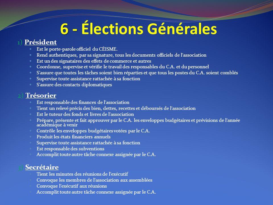 6 - 6 - Élections Générales 1) Président Est le porte-parole officiel du CÉISME. Rend authentiques, par sa signature, tous les documents officiels de