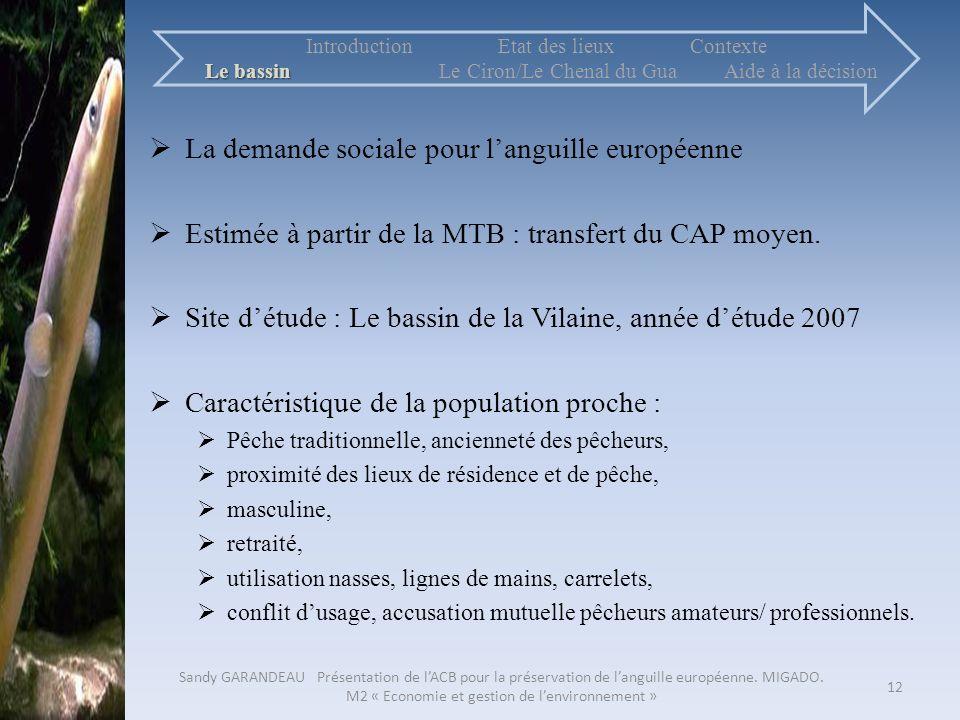 La demande sociale pour languille européenne Estimée à partir de la MTB : transfert du CAP moyen. Site détude : Le bassin de la Vilaine, année détude