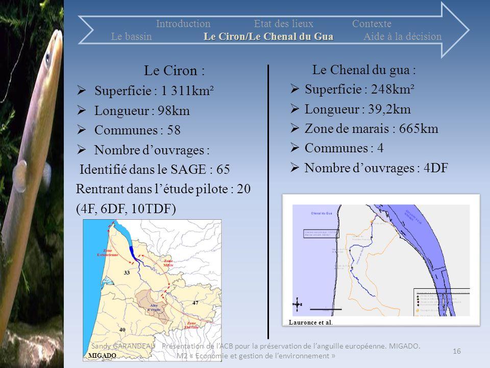 Le Ciron : Superficie : 1 311km² Longueur : 98km Communes : 58 Nombre douvrages : Identifié dans le SAGE : 65 Rentrant dans létude pilote : 20 (4F, 6D