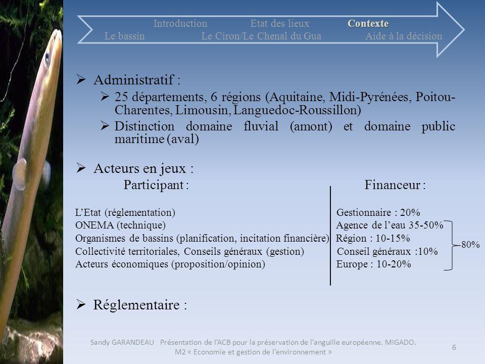 Administratif : 25 départements, 6 régions (Aquitaine, Midi-Pyrénées, Poitou- Charentes, Limousin, Languedoc-Roussillon) Distinction domaine fluvial (