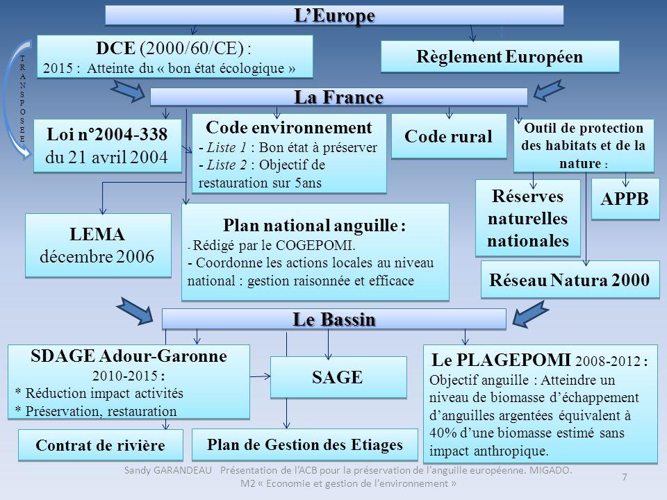 7 TRANSPOSEETRANSPOSEE LEuropeLEurope DCE (2000/60/CE) : 2015 : Atteinte du « bon état écologique » DCE (2000/60/CE) : 2015 : Atteinte du « bon état é