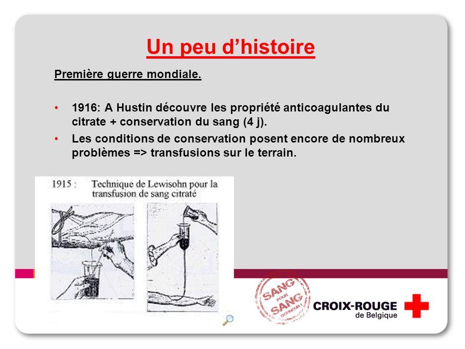 Un peu dhistoire Première guerre mondiale. 1916: A Hustin découvre les propriété anticoagulantes du citrate + conservation du sang (4 j). Les conditio