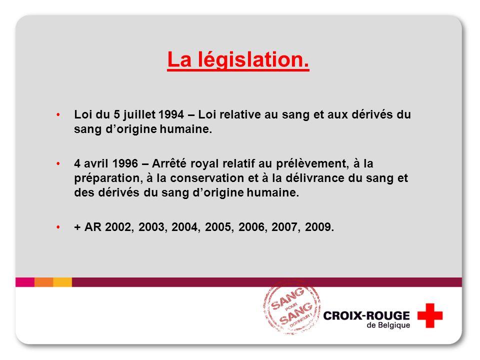 La législation. Loi du 5 juillet 1994 – Loi relative au sang et aux dérivés du sang dorigine humaine. 4 avril 1996 – Arrêté royal relatif au prélèveme
