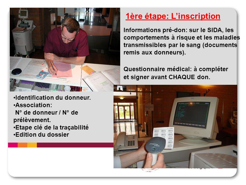 1ère étape: Linscription Informations pré-don: sur le SIDA, les comportements à risque et les maladies transmissibles par le sang (documents remis aux donneurs).
