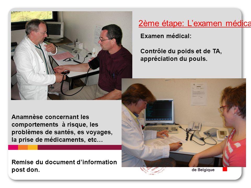 2ème étape: Lexamen médical Examen médical: Contrôle du poids et de TA, appréciation du pouls. Anamnèse concernant les comportements à risque, les pro