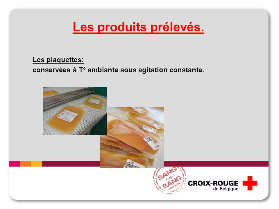 Les produits prélevés. Les plaquettes: conservées à T° ambiante sous agitation constante.