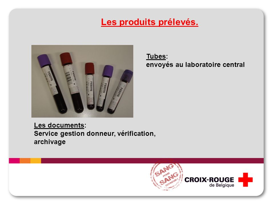 Tubes: envoyés au laboratoire central Les produits prélevés. Les documents: Service gestion donneur, vérification, archivage