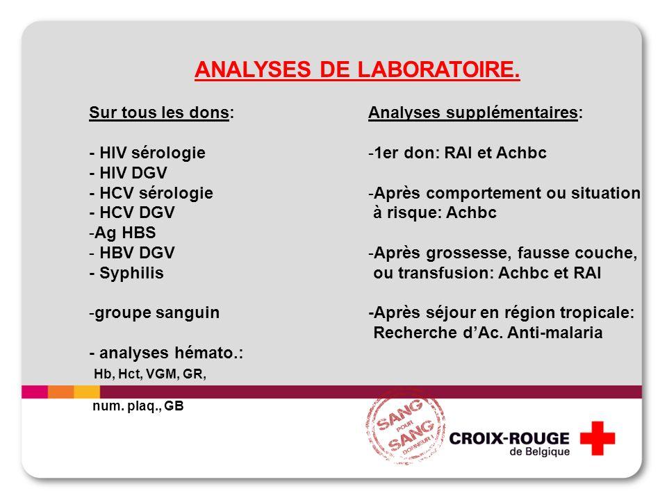 ANALYSES DE LABORATOIRE. Sur tous les dons: - HIV sérologie - HIV DGV - HCV sérologie - HCV DGV -Ag HBS - HBV DGV - Syphilis -groupe sanguin - analyse