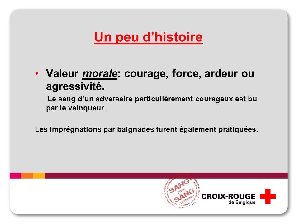 Un peu dhistoire Valeur morale: courage, force, ardeur ou agressivité. Le sang dun adversaire particulièrement courageux est bu par le vainqueur. Les