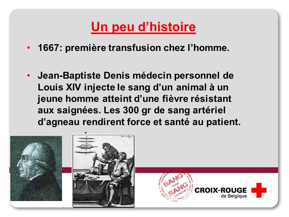 1667: première transfusion chez lhomme. Jean-Baptiste Denis médecin personnel de Louis XIV injecte le sang dun animal à un jeune homme atteint dune fi