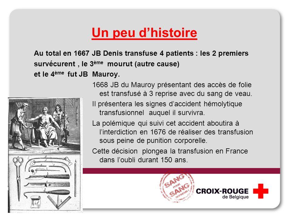 Au total en 1667 JB Denis transfuse 4 patients : les 2 premiers survécurent, le 3 ème mourut (autre cause) et le 4 ème fut JB Mauroy. 1668 JB du Mauro