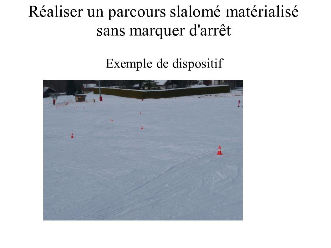 Réaliser un parcours slalomé matérialisé sans marquer d arrêt Exemple de dispositif