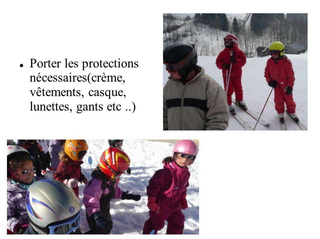 Porter les protections nécessaires(crème, vêtements, casque, lunettes, gants etc..)