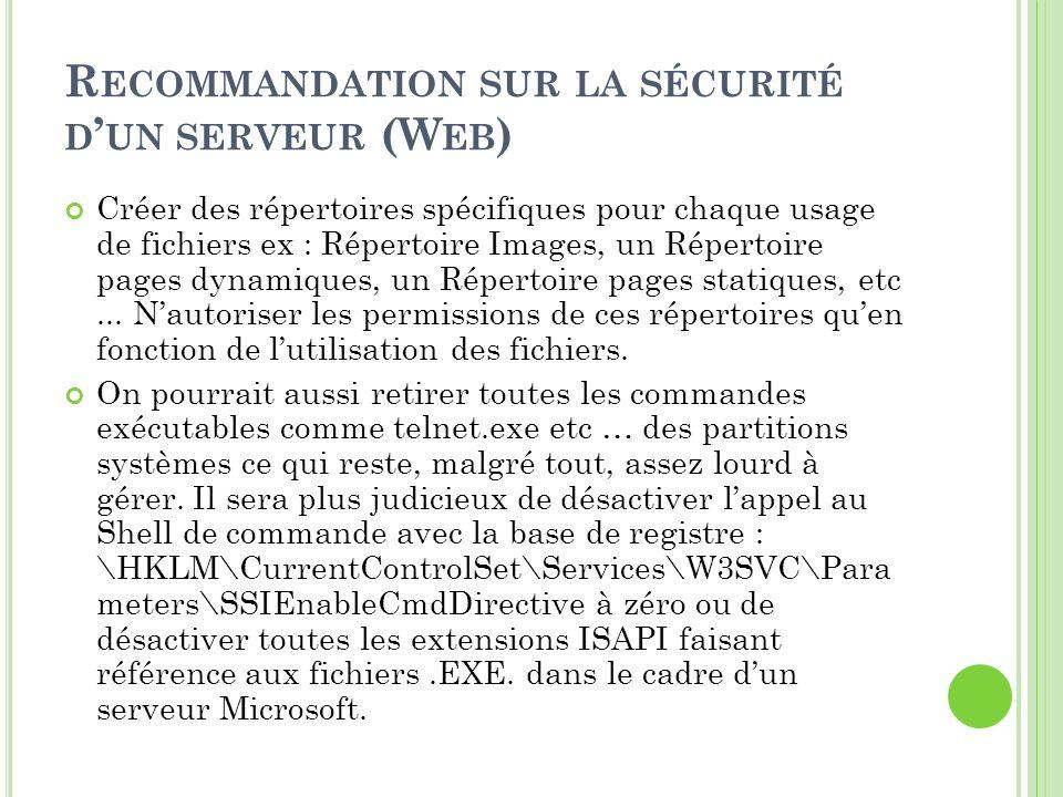 R ECOMMANDATION SUR LA SÉCURITÉ D UN SERVEUR (W EB ) Créer des répertoires spécifiques pour chaque usage de fichiers ex : Répertoire Images, un Répert