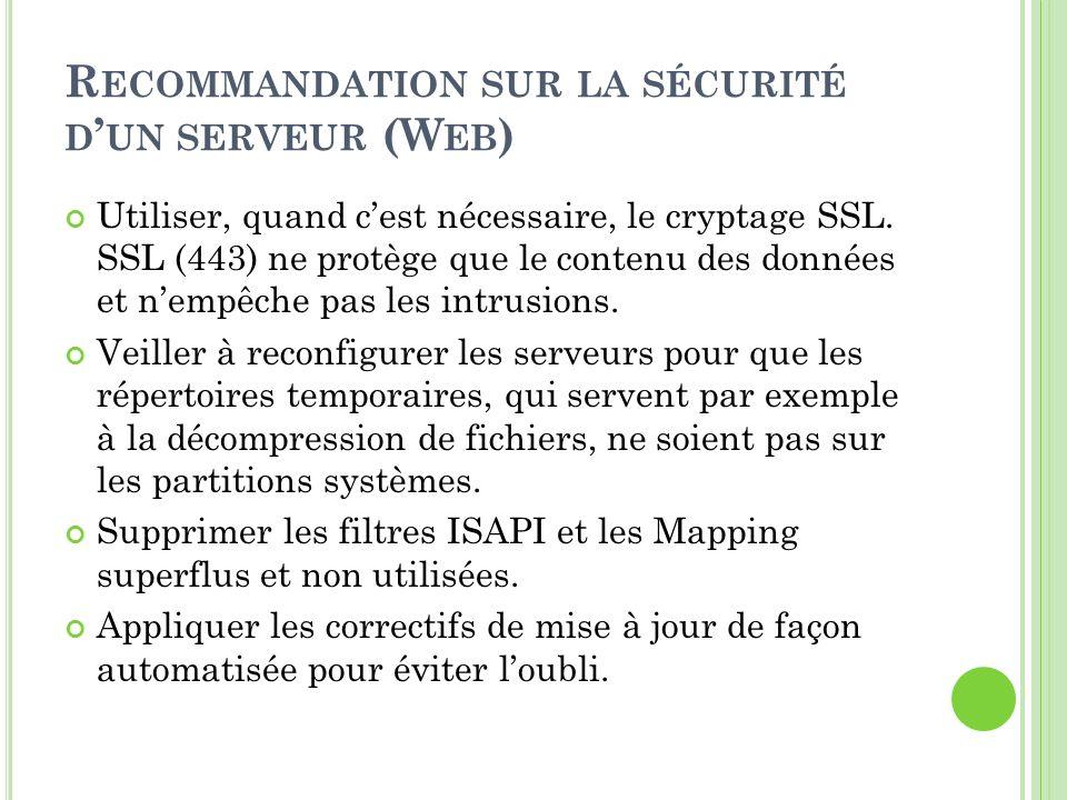 R ECOMMANDATION SUR LA SÉCURITÉ D UN SERVEUR (W EB ) Utiliser, quand cest nécessaire, le cryptage SSL. SSL (443) ne protège que le contenu des données
