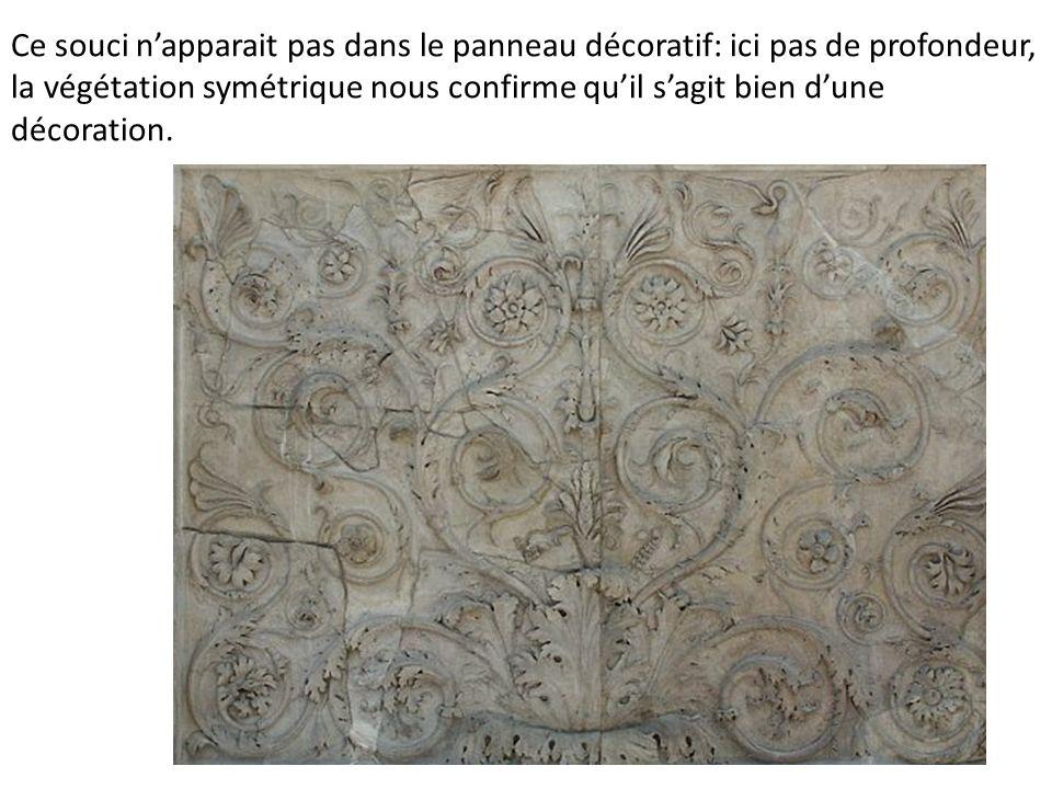 Ce souci napparait pas dans le panneau décoratif: ici pas de profondeur, la végétation symétrique nous confirme quil sagit bien dune décoration.