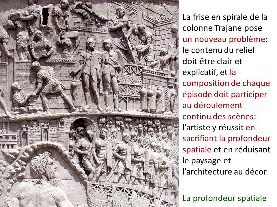 La frise en spirale de la colonne Trajane pose un nouveau problème: le contenu du relief doit être clair et explicatif, et la composition de chaque ép