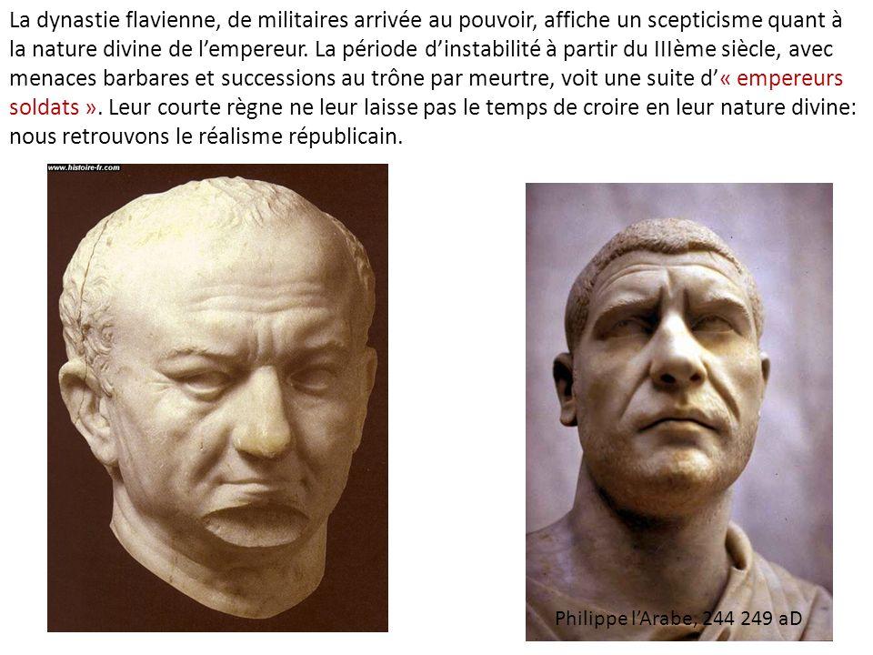 La dynastie flavienne, de militaires arrivée au pouvoir, affiche un scepticisme quant à la nature divine de lempereur. La période dinstabilité à parti