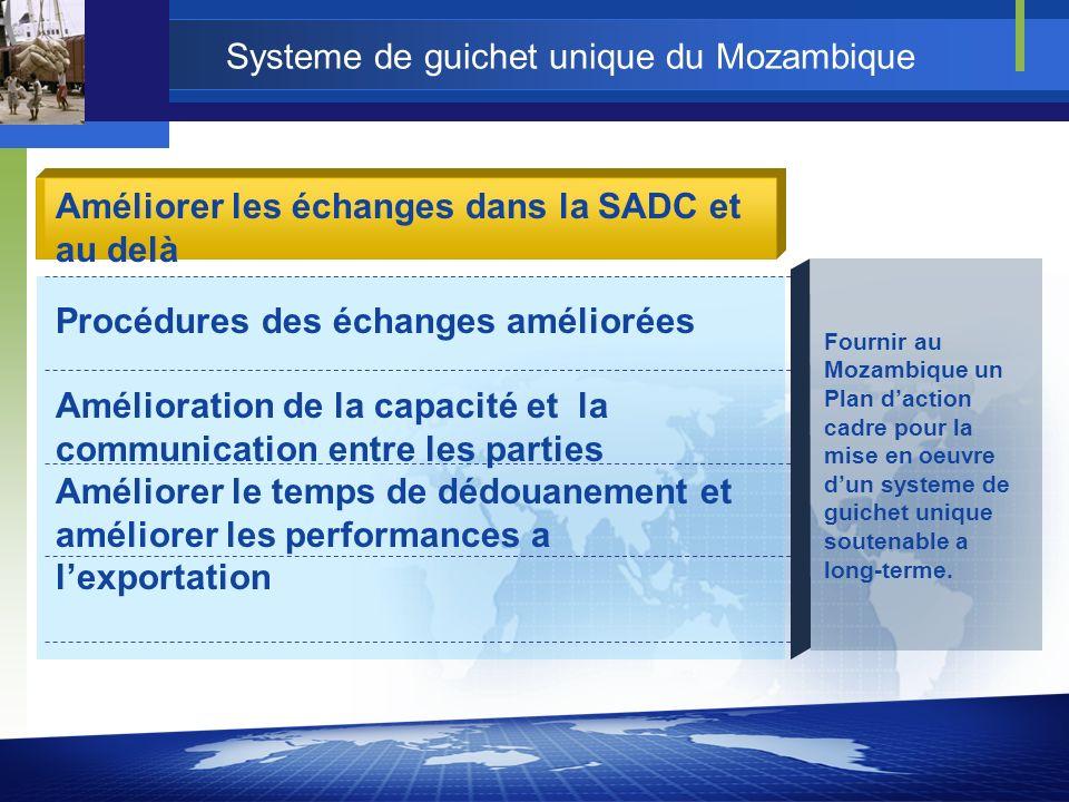 Systeme de guichet unique du Mozambique Fournir au Mozambique un Plan daction cadre pour la mise en oeuvre dun systeme de guichet unique soutenable a long-terme.